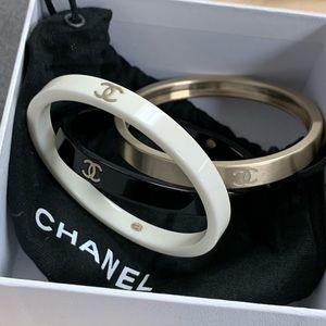 Chanel stack bangle black white gold set of 3